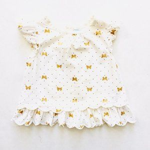 Sparkly Gold Butterfly Ruffle Sleeve Blouse